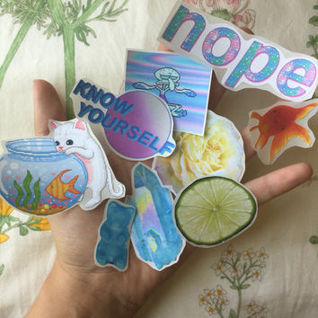 Soft grunge/tumblr sticker pack (set of 9)