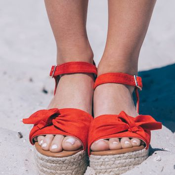 Boca Beach Red Platform Bow Sandals