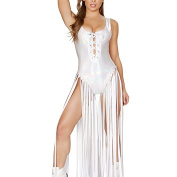 Roma Rave 3540 - 1pc Lace up Romper with Long Fringe Detail