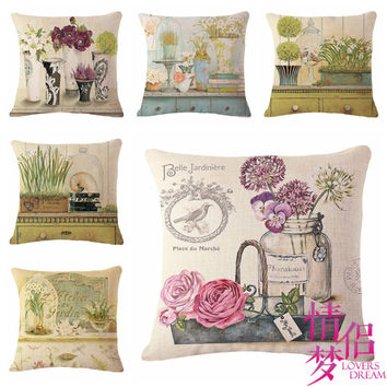 Hand Painted Cotton Linen European Style Manufacturers Selling Pillow Cushion Washable Waist Pillow Cute Seat Cushion