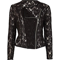Black sheer lace biker jacket