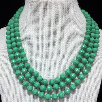 Marvella Glass Malachite Bead Necklace Triple Strand Green Beaded Multi Strand Jewelry Hand Knotted Rhinestone Clasp 418