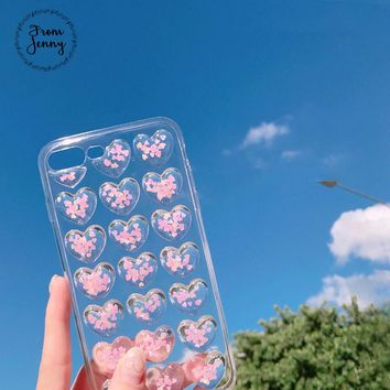 From Jenny Crystal love hearts Phone Case for iphone 7 7plus 6 6s 6plus 6splus 8 8plus X glitter transparent back cover