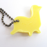 Yellow  seal key chain , resin tag , bag tag , pet tag, bronze chain ,, children bracelet , handmade accessories , sea lion , marine