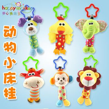HOT 18.5cm New Infant Baby Plush Soft Rattle Toy early Educational Toy Cute Soft Dog Lion Elephant Rattle Tinkle Hand Ring Bell