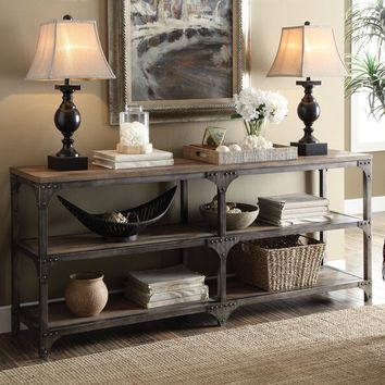 Acme 72680 Gorden weathered oak finish wood antique silver frame console sofa table