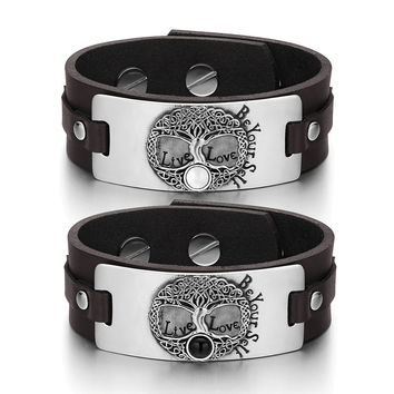 Tree of Life Celtic Powers Love Couples White Simulated Cats Eye Simulated Onyx Brown Leather Bracelets