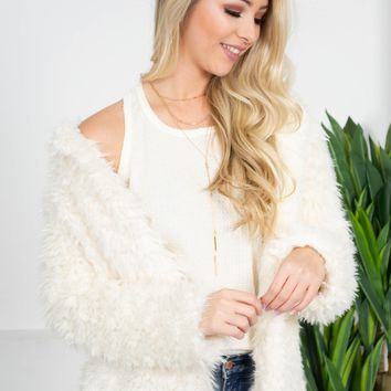 Fluffy Cream Fleece Jacket
