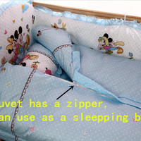Promotion! 10PCS Boy Baby Cot Crib Bedding Sets baby nursery bed kit Embroidered (bumper+matress+pillow+duvet)