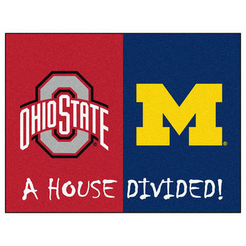 Ohio State Buckeyes - Michigan Wolverines House Divided NCAA All-Star Floor Mat (34x45)