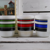 Fire King Milk Glass Coffee Mugs , Bright Colors , D handles , Set of Mugs from the 60's