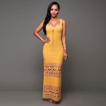 Sexy Yellow Lace Maxi Dress