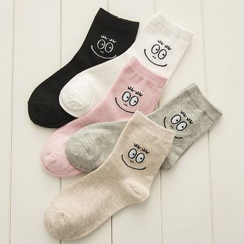 Couple Cotton Sock Gilrl Cartoon Funny Socks Smiling Face Print sokken Women calcetines mujer Cute Design