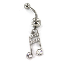 Music Note Dangle Stainless Steel Belly Ring with Clear Gems - 14G (1.6mm), 3/8'' Bar Length