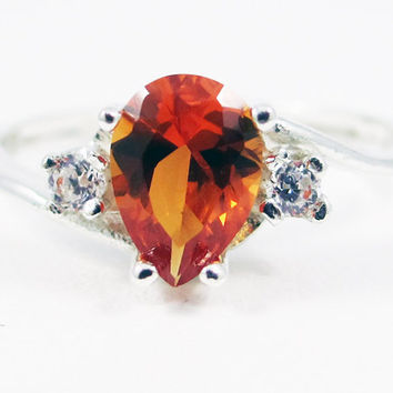 Orange Sapphire Pear CZ Accented Ring Sterling Silver, September Birthstone Ring, Sterling Silver Pear Ring, 925 Sterling Silver Ring