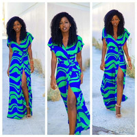 Blue and Green Wrap Tie-Waist Maxi Dress