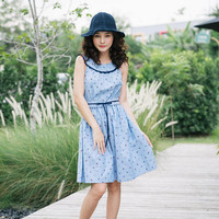 Tea Party - Summer Dress Blue Navy Nautical Dress Vintage Modern Cozy Style Clothing Swing Dance Dress Retro Pin up Girl Dress