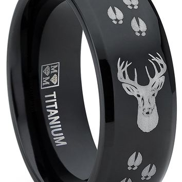 8MM Black High Polish Deer Head Track Titanium Ring Wedding Band, Men's Hunting Ring, Outdoor Jewelry