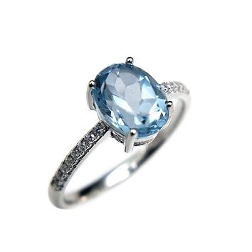 Simple and Classic 1.2ct Natural Sky Blue Topaz 6*8mm Gemstone Ring