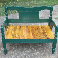 Atlanta GA Bench made from 1950's twin bed made of Oak and repurposed pallet seat hunter green sturdy natural