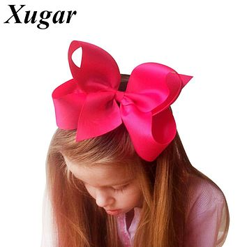 "1 PC 6"" Big Solid Grosgrain Ribbon Hair Bow Hairpins For Kid Girls Hair Clip Boutique Hair Accessories"