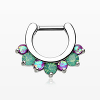 Opal Sparkle Deuce Septum Clicker Ring