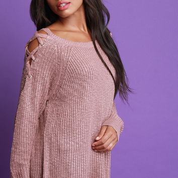 Chunky Knit Lace Up Shoulder Sweater Top | UrbanOG