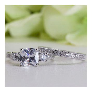 Micropavé Vintage Style Cushion Cut Cubic Zirconia Engagement Ring Set