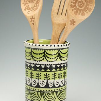 Utensil Crock or Vase Lime, Black, White Hand Painted Designs