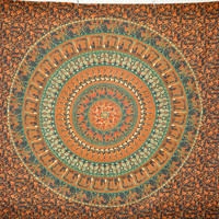 "80"" X 90"" Mandala tapestry , Handblocked Mandala tapestry bedspread,wall hanging Indian Tapestry, Bohemian Bed Cover, bed Spread, mandala M5"
