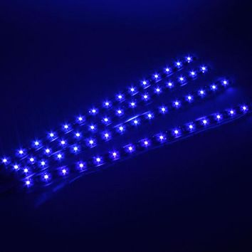 4PCS 12V Car LED Bar Lights Car Motorcycle Strip Light Truck Flexible Strip Light Waterproof Blue Light Color outdoor and indoor