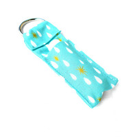 Teal and Gold Raindrops Chapstick Keychain - Blue Lip Balm Holder Cozy
