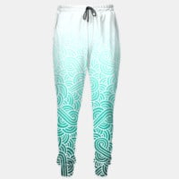 Ombre turquoise blue and white swirls doodles Sweatpants, Live Heroes