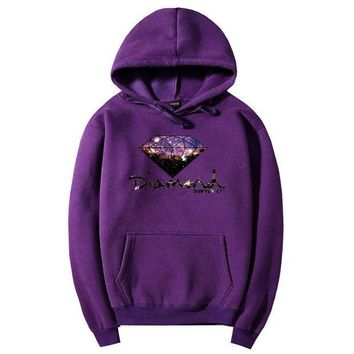 DCCKB3R Diamond Fashion Drawstring Galaxy Long Sleeve Top Sweater Pullover Hoodie