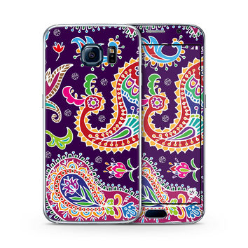 Multicolored Purple Paisley Background Skin for the Samsung Galaxy S-Line