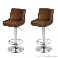 Adeco Height Adjustable Classic Counter Bar Stools, Set of 2, Brown - CH0142-1