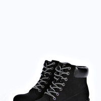Alexis Padded Cuff Lace Up Worker Boot