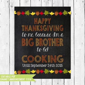 Big Brother Thanksgiving Pregnancy Announcement Chalkboard // Thanksgiving Pregnancy Reveal Photo Prop // DIY edit with ADOBE READER