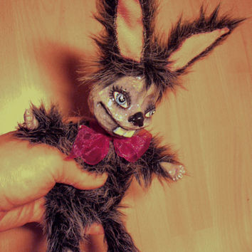 Grey Rabbit - Bunny - Hare - Creepy Funny Weird Odd Freak - Soft Sculpure - Mixed Media - OOAK - Art Doll - Wire Armatured Faux Fur Animal