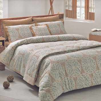 Moroccan Tile Bedding Set in Teal Blue, Brown, Beige for Queen, Double or Full – 6-piece Set of Duvet Cover, Sheet, Shams & Pillow Cases