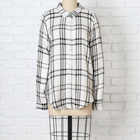 Black and White Plaid Button-Up-FINAL SALE