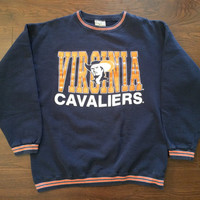 Medium vintage Virginia Cavaliers Galt Sand men's 80's 90's college crewneck sweatshirt navy blue orange cavs university