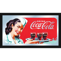 Coca-Cola Vintage Mirror Horizontal Waitress w- Coke