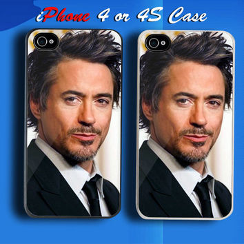 Robert Downey Jr The Actor Custom iPhone 4 or 4S Case Cover