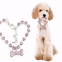 Stainless Steel Crystal Bones Necklace Pet Collar