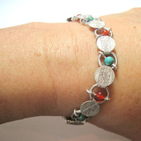 "Upcycled With Turquoise & Carnelian Vintage Sarah Coventry Bracelet Silver Tone 7.25"" OOAK"