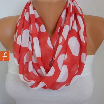 ON SALE - Red  Polka Dot Infinity Scarf Shawl Circle Scarf Loop Scarf Gift - for her --White Polka Dot - fatwoman