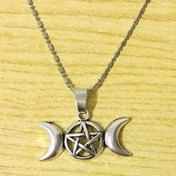 Star With Moon Pendant Supernatural Blessed Be Chain Necklace Pentagram Wiccan Charm Jewelry