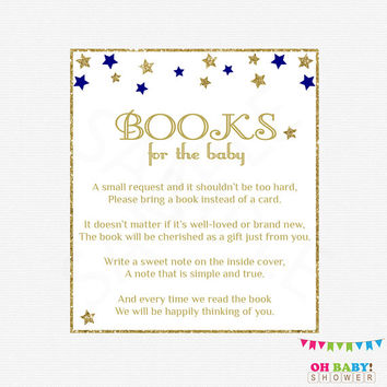 Twinkle Twinkle Little Star, Bring a Book Instead of Card, Navy Gold Baby Shower, Book Request, Boy Baby Shower, Printable Baby Shower STPG