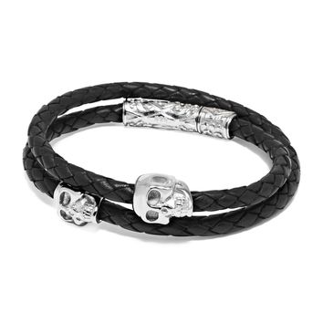 Men's Black Wrap-Around Leather Bracelet with Silver Skulls